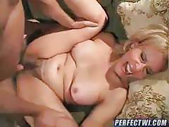 Horny granny seduces young guy and sucks his fat cock