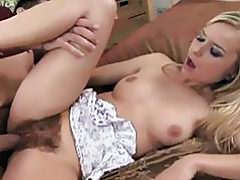 Cute Blonde Gets Her Furry Pussy Drilled